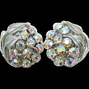 BSK Silver-tone Leaf Earrings with AB Rhinestones