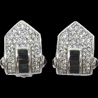 Carolee Clear and Black Rhinestone Earrings