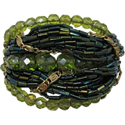 Olivine and Green AB Beaded Bracelet with Inspersed Chains