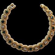 Emerald-green and Clear Rhinestone Line Bracelet