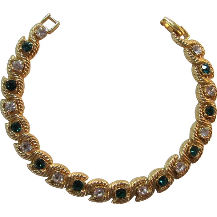 Emerald-green and Clear Rhinestone Line Bracelet