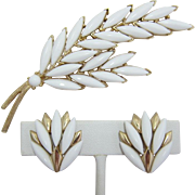 Trifari Bright White Double Leaf Pin and Earrings