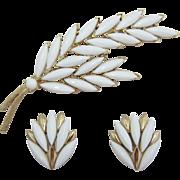 Trifari Bright White Double Leaf Pin and Earrings