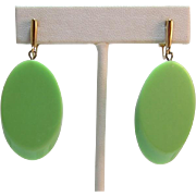 "Trifari Apple Green ""Sliced"" Thermoplastic Dangling Earrings"