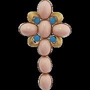 1960's Signed Jeanne Huge Pink Cabochon Cross Brooch/Pendant