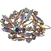 Super Sparkly AB Rhinestone Thin Navette Brooch