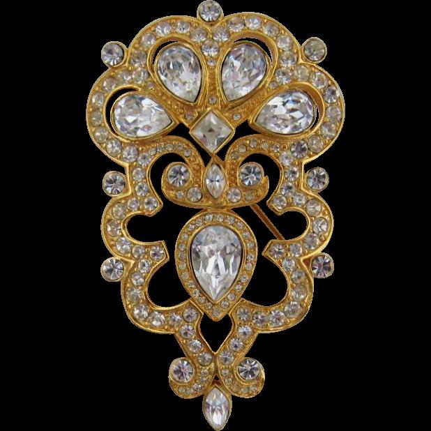 Monet Large Renaissance Style Brooch - Sparkles!