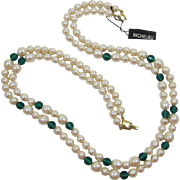 Richelieu Two-Strand Imitation Pearl and Emerald-Green Beaded Necklace