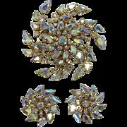 Glitzy Large Aurora Borealis Pinwheel Brooch and Earring Set