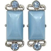 Selro Silver-tone and Blue Moonglow Earrings