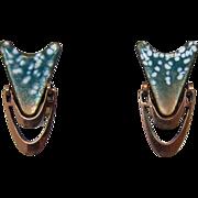 Copper and Teal Enameled Doorknocker Style Earrings - LAST CHANCE