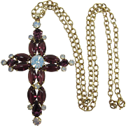 Large Purple and Opaline Rhinestone Cross Necklace
