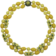 Two Strand Yellow and Golden Beaded Necklace with Flowers and Enameled Leaves