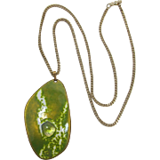 Kay Denning Mid-Century Modern Lime Green Enameled Pendant Necklace
