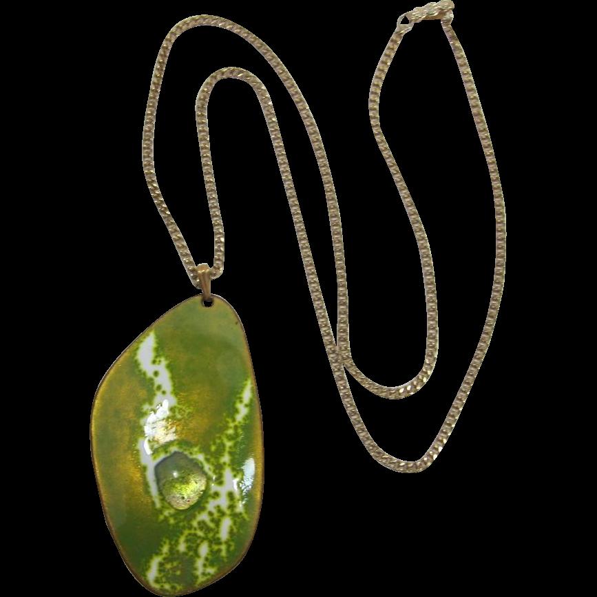 Kay Denning Mid-Century Modern Lime Green Enameled Pendant Necklace
