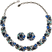 Gorgeous Lisner Blue and Aquamarine Rhinestone Necklace and Earring Set