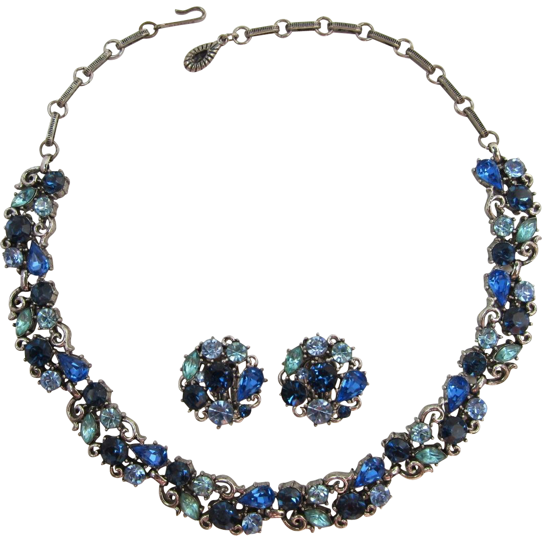 Gorgeous Lisner Blue and Aquamarine Rhinestone Necklace and Earring Set