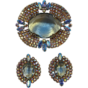 Stunning Blue and Yellow Givre' Rhinestone Brooch and Earrings