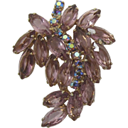 Sparkling Lavender Brooch with Purple AB Rhinestones