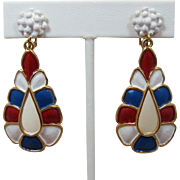 Hollycraft Patriotic Red, White and Blue Enamel Dangling Earrings - Rare