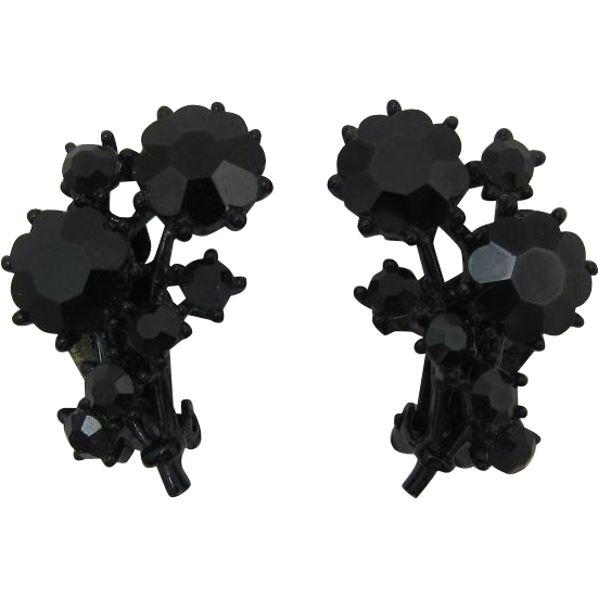 Beautiful Black Japanned Rhinestone Flower Earrings