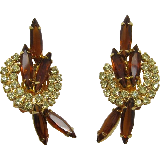 Bright Yellow Rhinestone and Smoky Topaz Navette Earrings