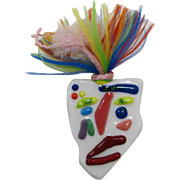 Colorful and Crazy Ceramic Face Brooch