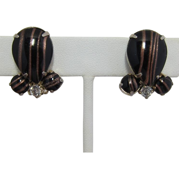 Black and Gold Aventurine Glass Cabochon Earrings