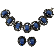 Midnight Blue Moonglow Chunky Bracelet and Earring Set