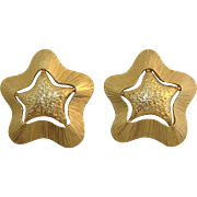 Large Bright Gold-tone Star Earrings