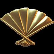 1980's Anne Klein Brushed Gold-tone Fan Brooch