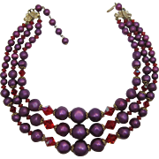 ART Three Strand Purple Beads and Red AB Crystal Necklace
