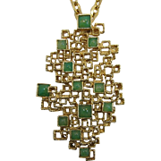 Panetta Large Modernistic Brooch/Pendant Necklace with Green Cabochons  SPRING 2017