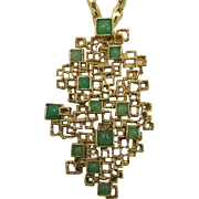 Panetta Large Modernistic Brooch/Pendant Necklace with Green Cabochons