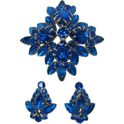 Cobalt Blue and Capri Blue Rhinestone High-Domed Brooch and Earring Set