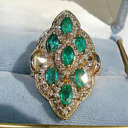 14K Yellow Gold, 2.66cts. Emeralds & 1.65cts. Diamond Ring