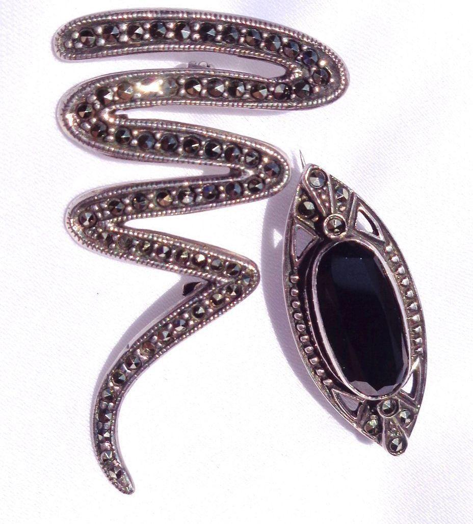 2 Vintage Marcasite & Onyx Broochs