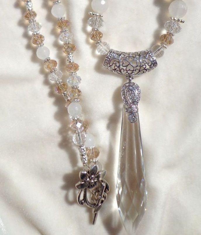 "3"" Crystal Spear & Bead Necklace"