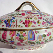 Covered Porcelain Bowl from Japan with Gold Handles