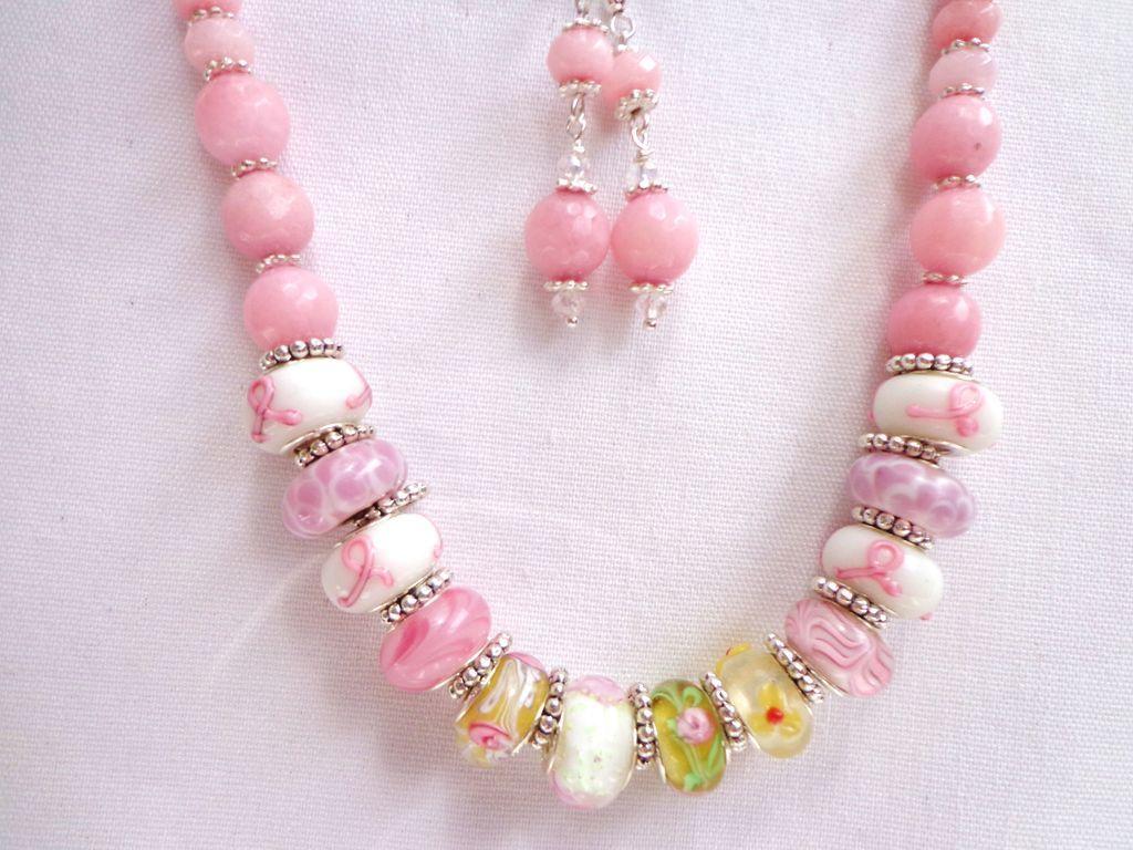 Morganite & Murano Lampwork Bead Necklace & Earring Set for Sharon