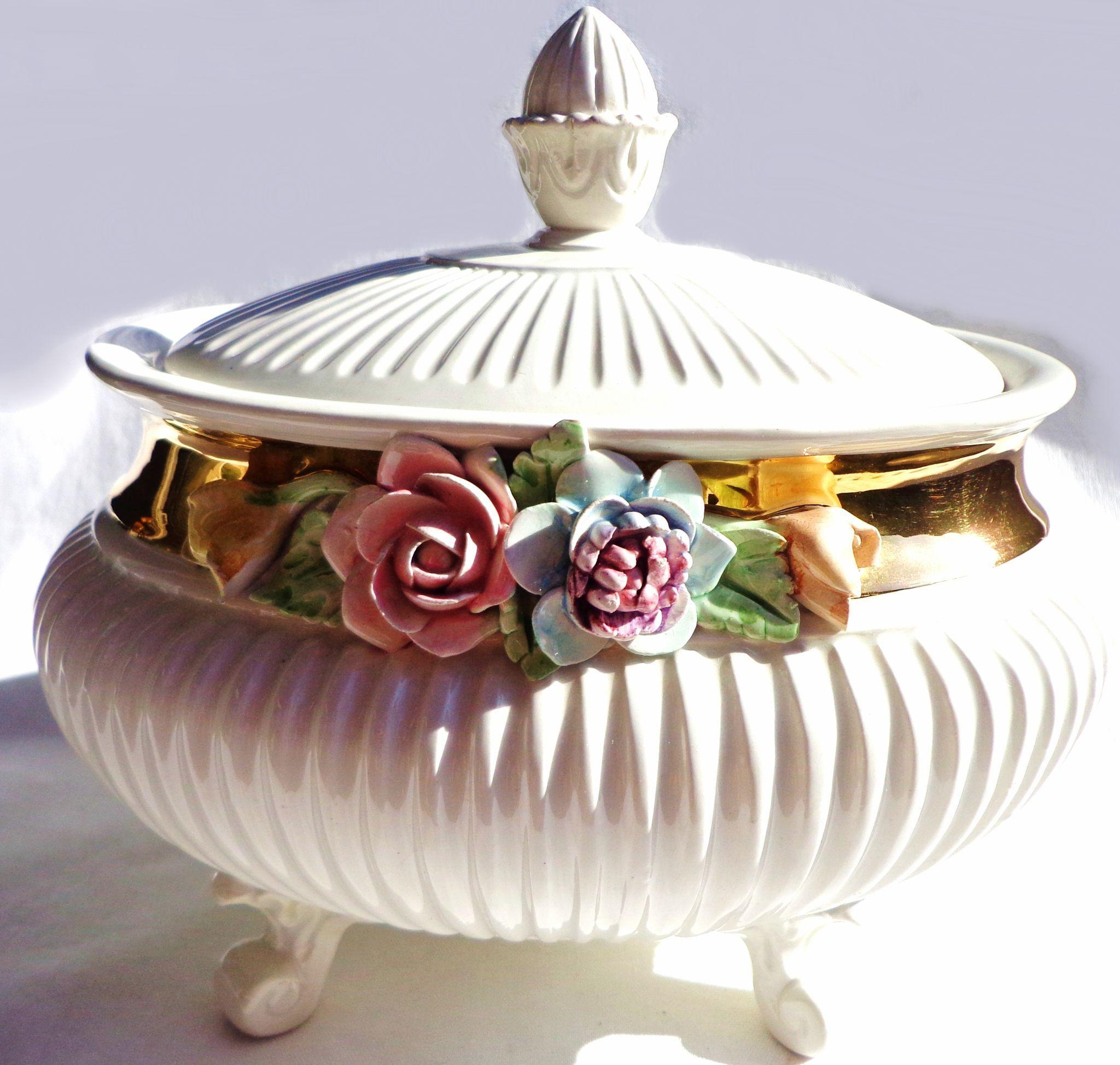 Vintage Porcelain Footed Bowl/ Tureen with Applied Flowers