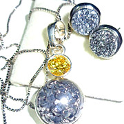 Sparkling Pyrite Titanium Sterling Earring & Necklace Set