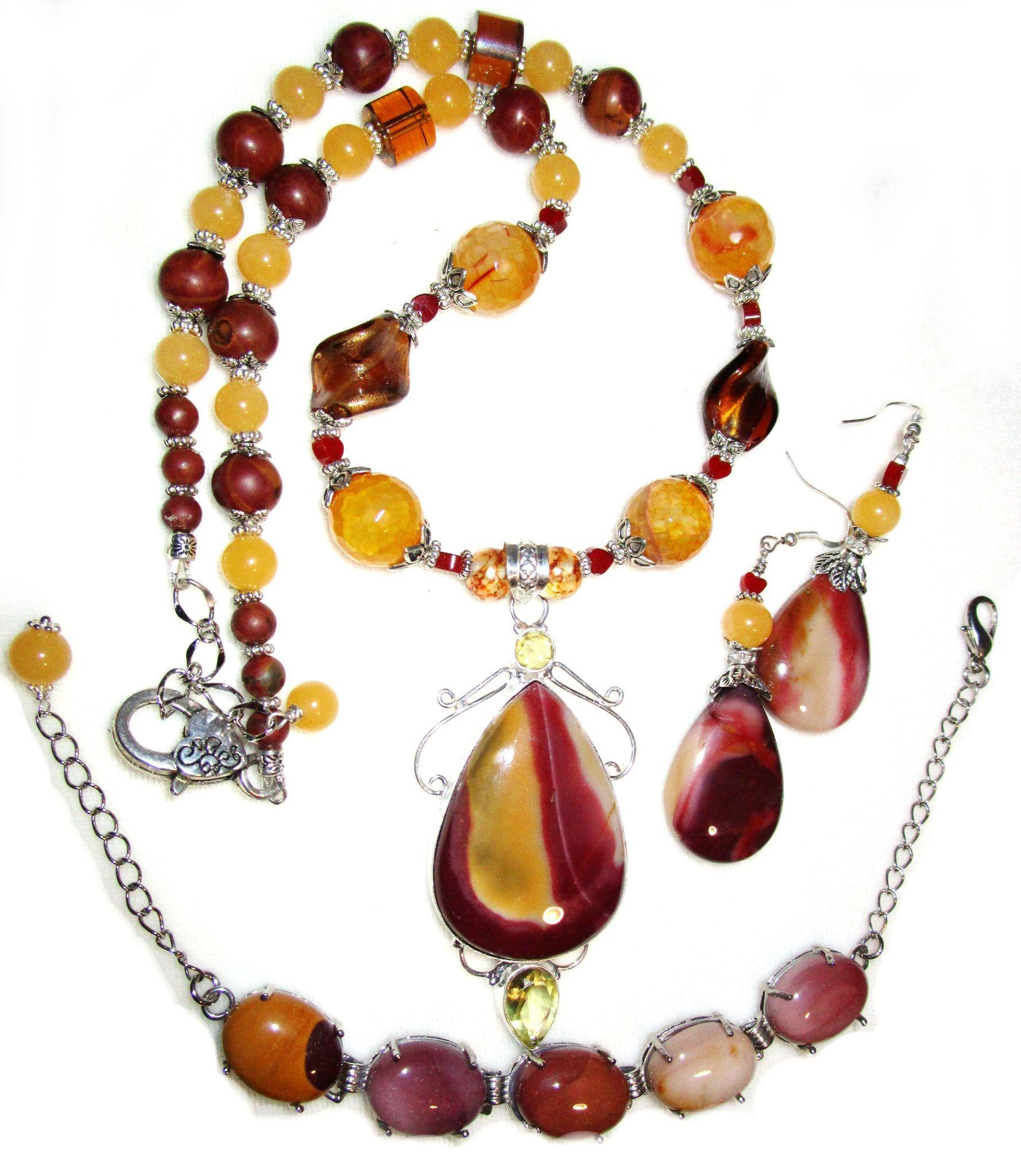 Mookaite/Citrine Necklace, Bracelet, Earring Set