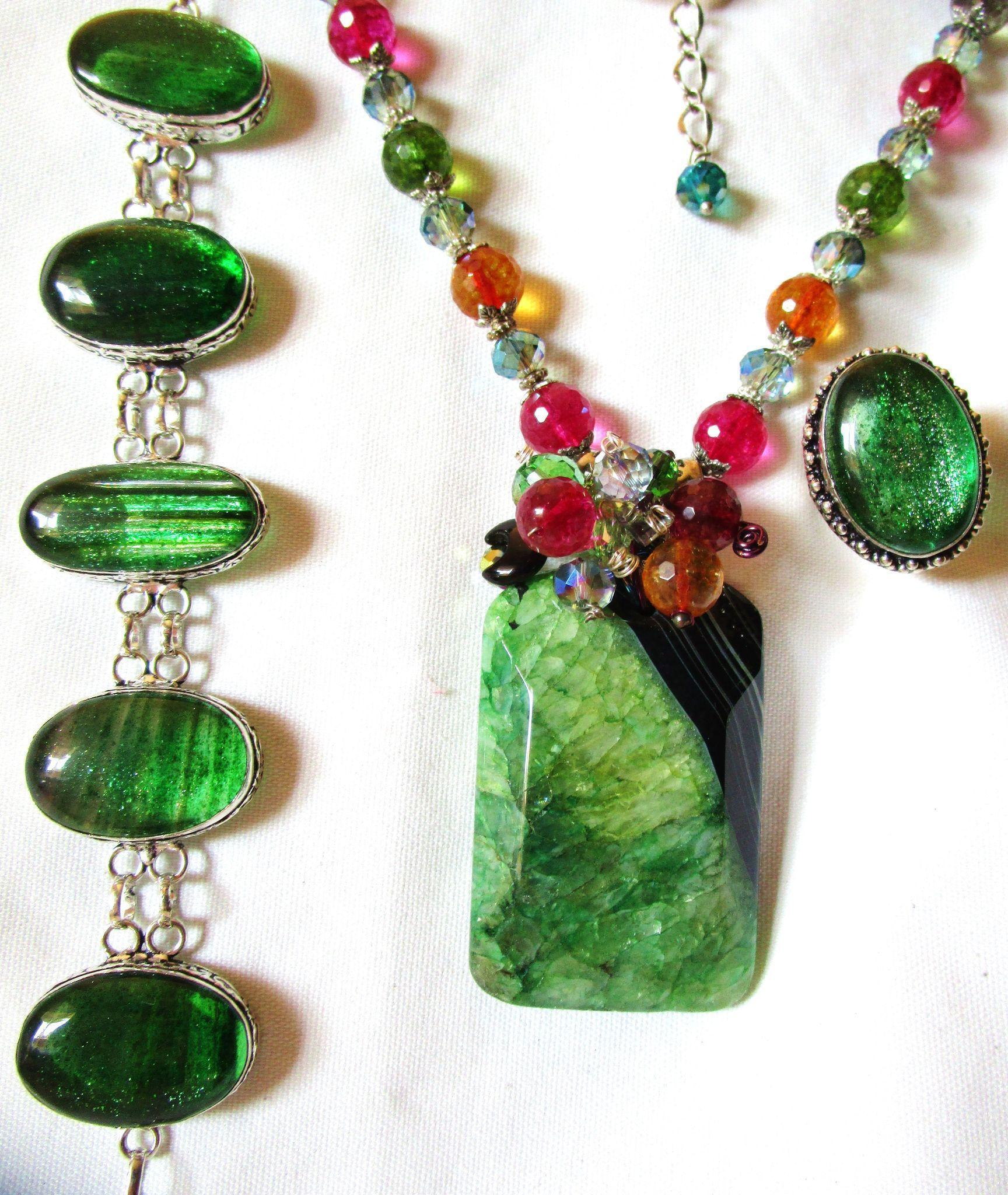 CLEARANCE 3-Pc. Apple Green Druzy Necklace/Dichroic Bracelet/Ring