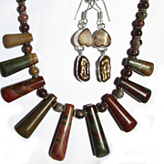 "CLEARANCE; Fancy Jasper ""Bib"" Necklace with Pearl Earring Set"