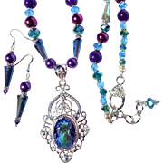 Mystic Topaz with Swarovski Crystal Necklace & Earring Set