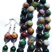 Green Veined Agate Pendant/ Fancy Jasper/Indian Agate Knotted Bead Necklace/Earrings