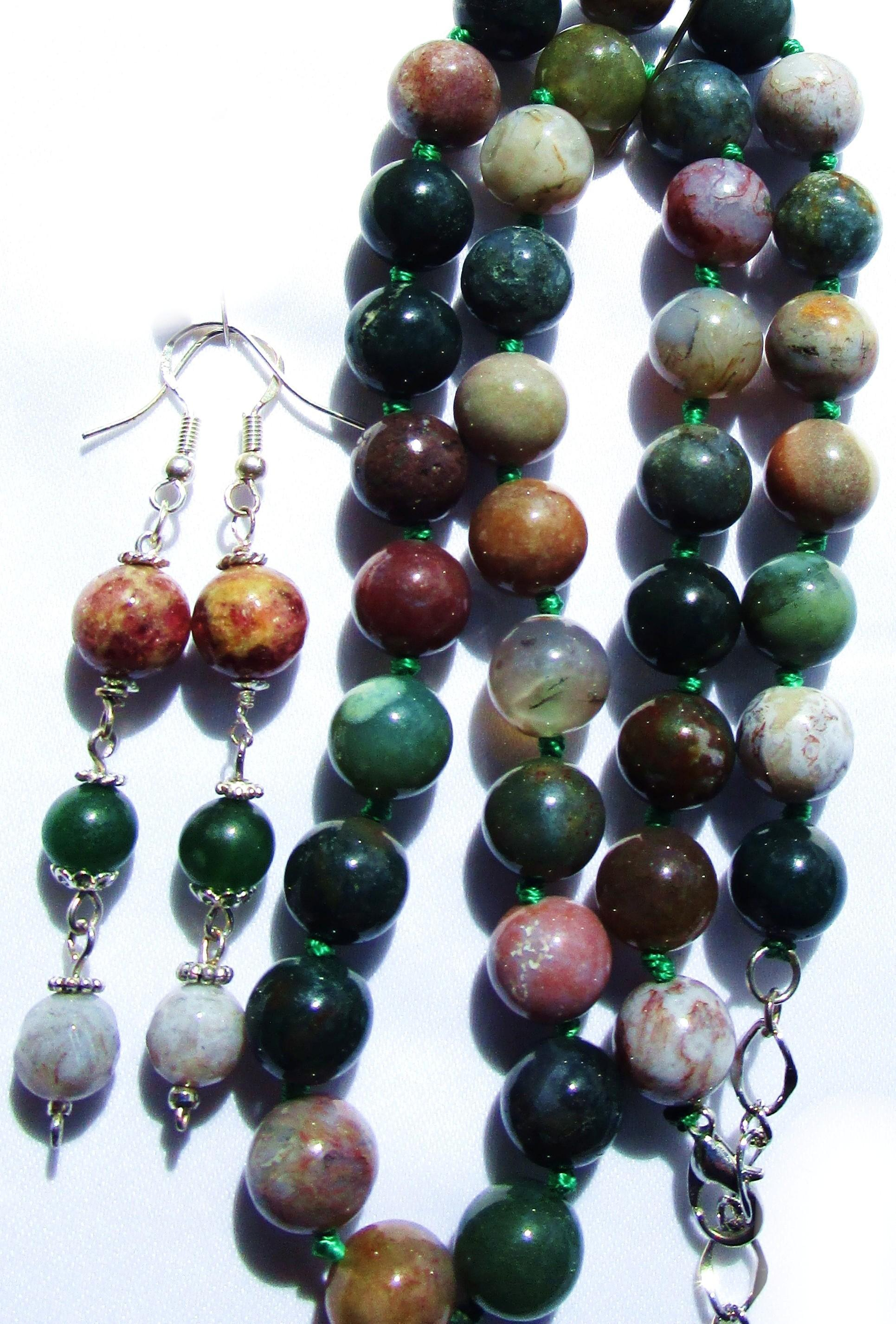 10 mm Fancy Jasper/Indian Agate Knotted Bead Necklace/Earrings