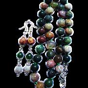 10 mm Fancy Jasper/Indian Agate Knotted Bead Necklace/Earrings