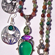Chalcedony & Topaz Pendant on Indian Agate Bead Necklace/Green Sterling Earrings